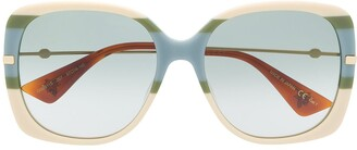 Gucci Bee Detail Square-Frame Sunglasses