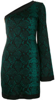 Balmain one-shoulder snake print dress