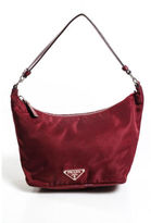 Prada Brick Red Nylon Silver Tone Leather Accent Hobo Shoulder Handbag