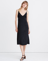 Madewell Satin Cami Side-Button Wrap Dress