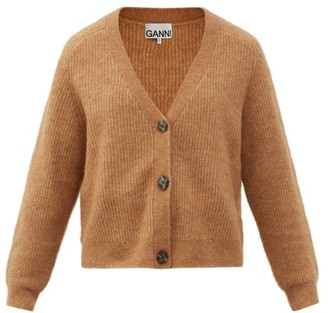 Ganni Cropped V-neck Cardigan - Camel