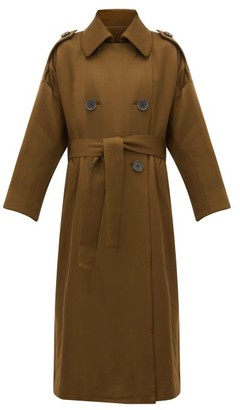 Petar Petrov Mona Double-breasted Wool-blend Trench Coat - Womens - Khaki