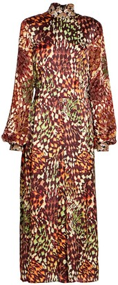 Dries Van Noten Devir Printed Velvet Embellished Turtleneck Midi Dress