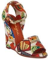 Charlotte Olympia Mischievous Canvas Wedge Sandal.