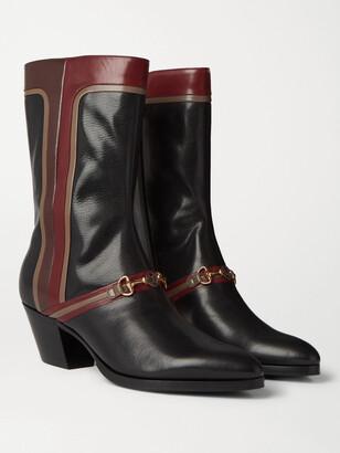 Gucci Horsebit Colour-Block Leather Boots