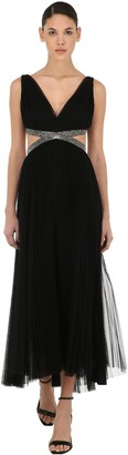 Maria Lucia Hohan Pleated Tulle Midi Dress W/embellishment