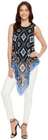 Vince Camuto Sleeveless Nairobi Graphic Handkerchief Blouse Women's Blouse