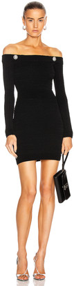 Balmain Off the Shoulder Pleated Knit Dress in Black | FWRD