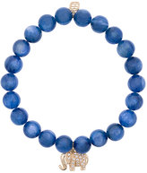 Sydney Evan Blue cat's eye beaded bracelet with diamond elephant charm