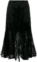 Jonathan Simkhai Velvet and Lace Embroidered Skirt - women - Polyester/Spandex/Elastane/Rayon - 2