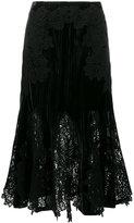 Jonathan Simkhai Velvet and Lace Embroidered Skirt