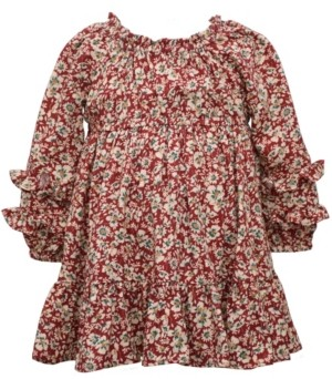 Bonnie Baby Baby Girls Long Sleeve Printed Challis Floral Dress