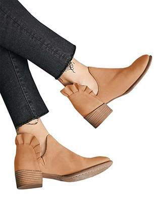 Chellysun Womens Ruffled Ankle Booties Chunky Low Heel Cut Out Pointed Toe Western Boots