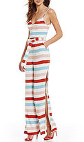 Lovers + Friends Charisma Sleeveless Flare Leg Striped Jumpsuit