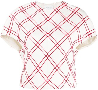 Giambattista Valli Geometric-Print Short-Sleeved Blouse