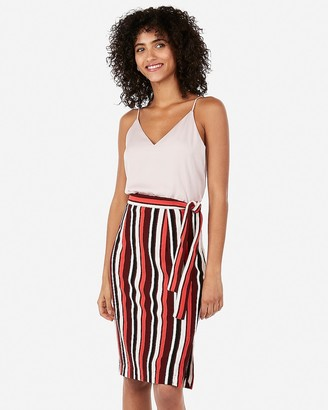 Express High Waisted Striped Side Tie Sweater Pencil Skirt