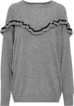 Autumn Cashmere Striped Ruffle-trimmed Cashmere Sweater