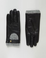 Asos Leather And Cable Knit Gloves with Touch Screen