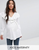 Asos Cotton Blouse With Ruffle Front & Tie Waist Long Sleeves