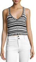 Alice + Olivia Sandrine Crochet Crop Tank, Black/White