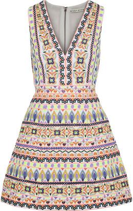 Alice + Olivia Patty Flared Embellished Cotton Mini Dress