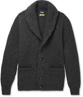 Drakes Drake's - Easyday Shawl-collar Ribbed-knit Wool Cardigan - Gray