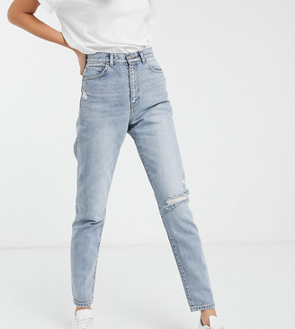 Dr. Denim Tall Nora high rise mom jean with rip in blue