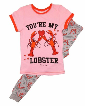 Hisandhers Clothing Friends Pyjamas Ladies Girls 2 Piece PJ Set with Short Sleeve Top and Leggings Youre My Lobster Cotton Pajama Sets for Women Official Merchandise
