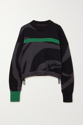 Sacai Cropped Striped Intarsia Cotton Sweater - Gray