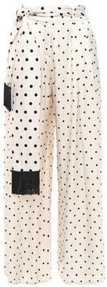 Mother of Pearl Anita Belted Polka-dot Satin Wide-leg Pants