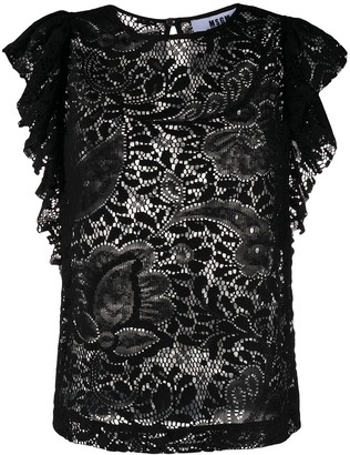 MSGM Floral-Lace Ruffled Blouse