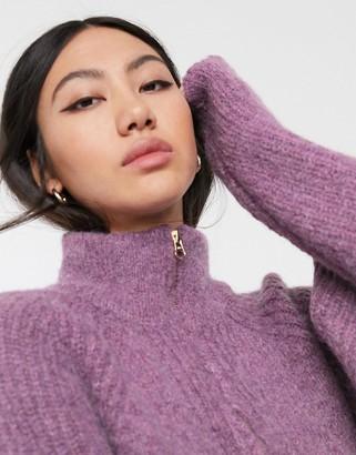 Asos wool blend zip up neck jumper-Purple