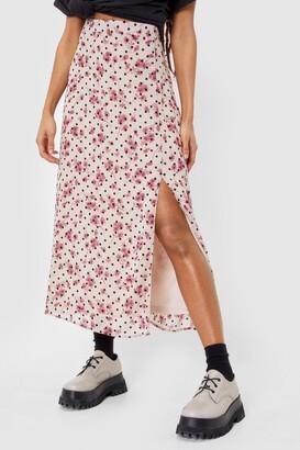 Nasty Gal Womens Floral Slit Side Midi Skirt - White - 6