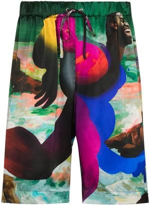 Edward Crutchley Maison-print silk Bermuda shorts