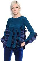 Capucci Plisse Waves Silk Crepe De Chine Shirt