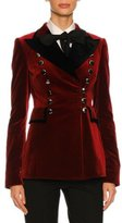 Dolce & Gabbana Velvet Tuxedo Jacket with Floral Embroidery, Red