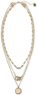 """Laundry by Shelli Segal Gold-Tone Pave Convertible Layered Pendant Necklace, 16"""" + 2"""" extender"""