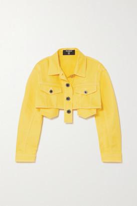 Balmain Cropped Denim Jacket - Yellow