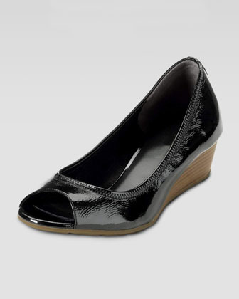Cole Haan Air Tali Patent Peep-Toe Wedge, Black