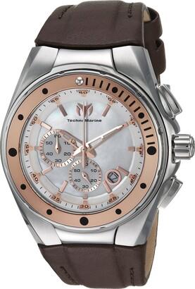Technomarine Women's Manta Stainless Steel Quartz Watch with Leather Calfskin Strap Brown 25 (Model: TM-216003)