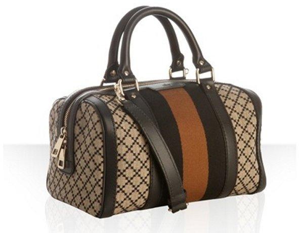 Gucci beige diamante canvas 'Vintage Web' striped convertible satchel
