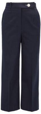 BOSS High-waisted wide-leg trousers in stretch-cotton pique
