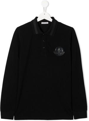 Moncler Enfant TEEN logo-patch long sleeved polo shirt
