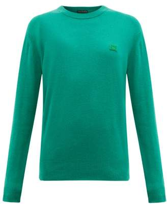 Acne Studios Nalon Face Wool Sweater - Womens - Green