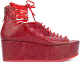 Marsèll peep-toe wedge sandals - women - Cotton - 37