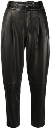 RED Valentino Leather Tapered Trousers