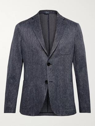 Etro Blue Slim-Fit Cotton And Linen-Blend Jacquard Blazer