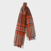 Paul Smith Women's Chocolate Brown Check Wool Scarf