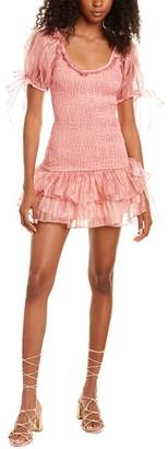 LoveShackFancy Violet Silk Mini Dress