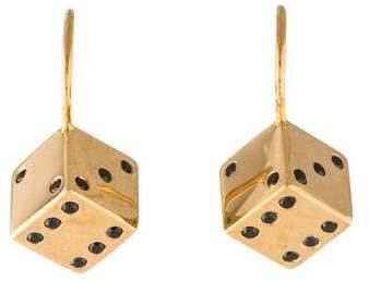 Alison Lou 14K Small Dice Diamond Earrings